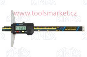 KINEX 2048 Hloubkoměr digitální bez nosu ČSN251284 DIN862 200mm