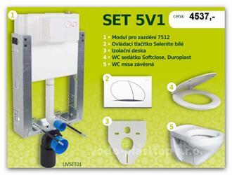 Set závěsný modul WC pro zazdění LIV-MOUNT+tlačítko Selenite bílé+izol.deska+WC sedátko Softclse+WC mísa závěsná