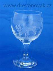 Sklenice na bílé víno s motivem lesní zvěře č.1886